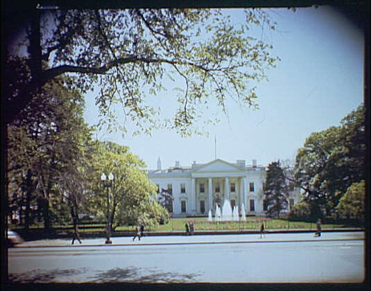 White House exteriors. View of White House from Lafayette Park II