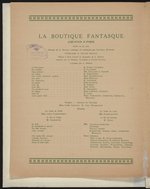 Programme Officiel--1919-1920 Ballets Russes