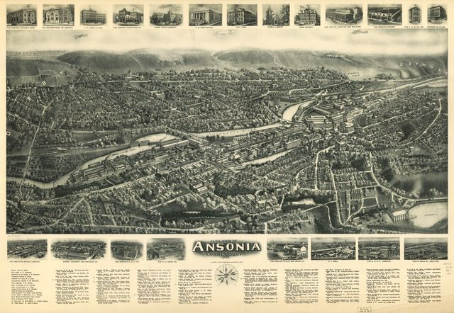 Aero view of Ansonia, Connecticut 1921.