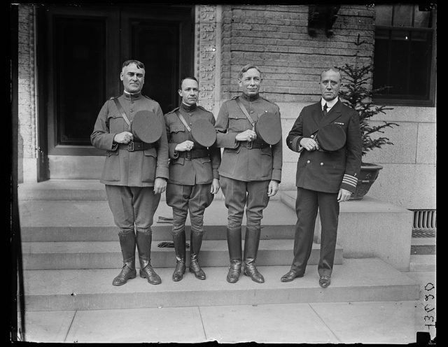 [Army and Navy Chaplains who will officiate at the burial of An Unknown American Soldier at Arlington National Cemetery, November 11th, 1921. Left to right: Chaplain John T. Axton, D.S.M, Chief of Chaplains, U.S.A.; Dr. Norris S. Lazaron, Chaplain at Large, U.S.A. Right Rev. Charles H. Brent, D.S.M., Senior Chaplain American Expeditionary Forces; and Chaplain John B. Frazier, Supervisor Chaplains Corps, U.S.N.]