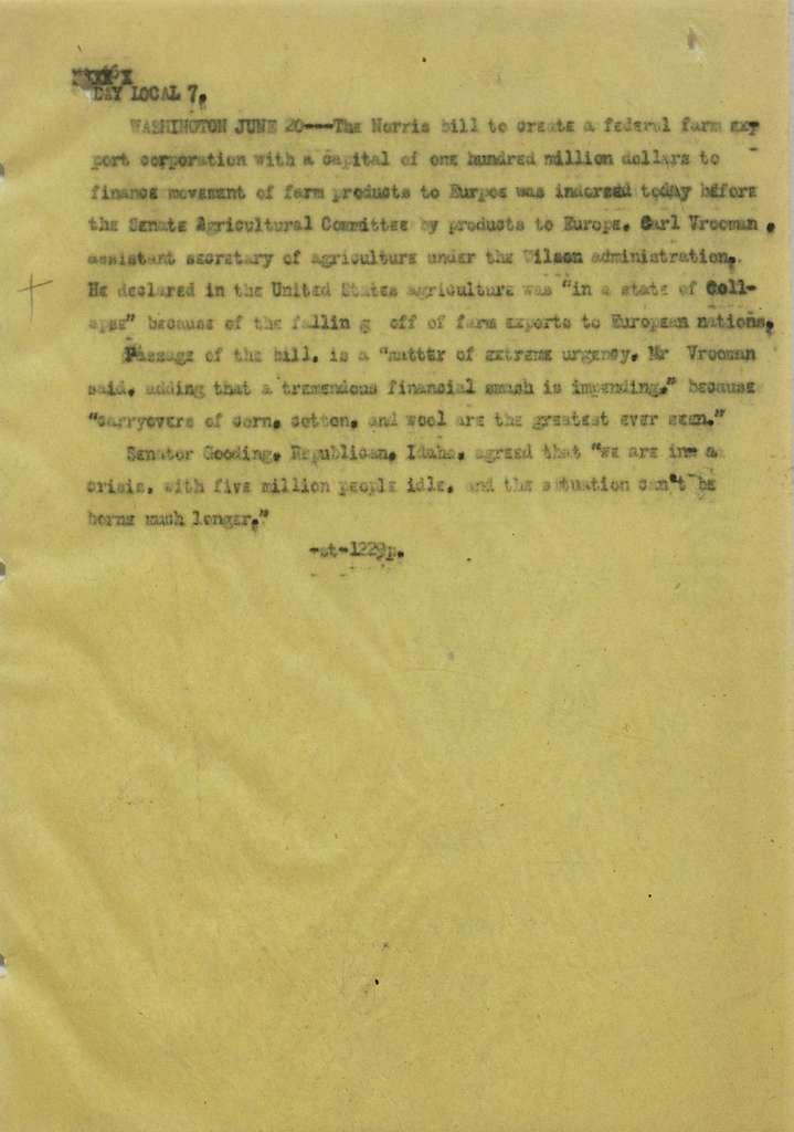 Associated Press, Washington, D.C., Bureau News Dispatches: 1921, June 16-30