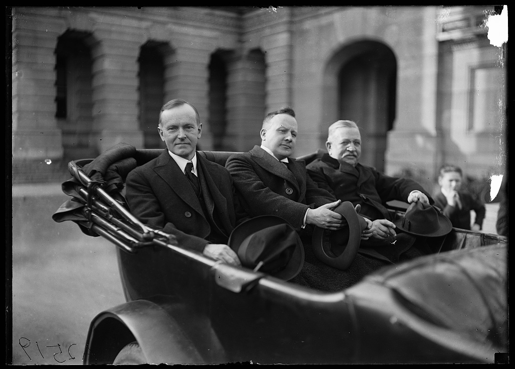 [Calvin Coolidge and unidentified at U.S. Capitol, Washington, D.C.]