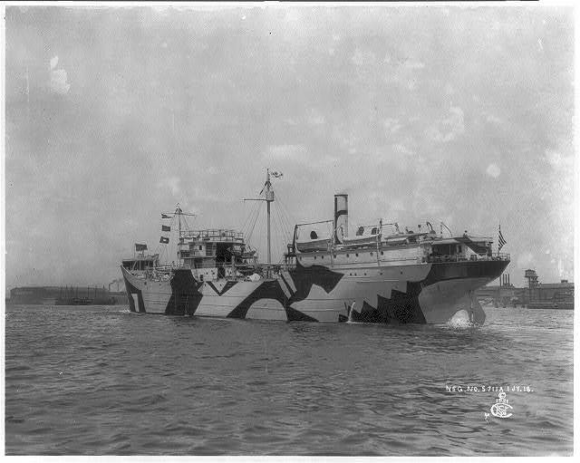 [Camouflage freighter ABSECON on trial trip in Delaware Bay]