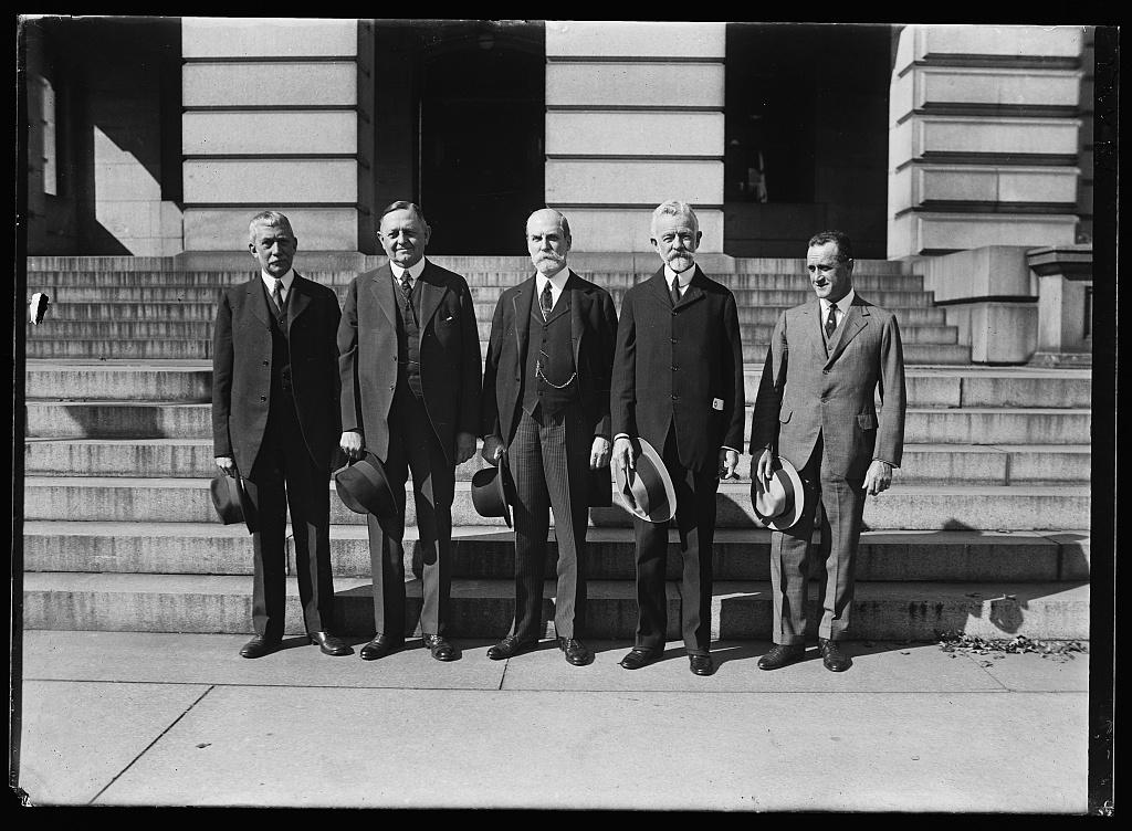 [Elihu Root, Oscar Underwood, Charles Evans Hughes, Henery Cabot Lodge, Sr. and unidentified]