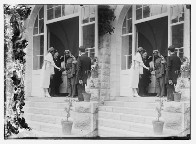 [Emir Abdullah of Transjordan shaking hands with Mrs. Churchill,  Winston Churchill standing next to Mrs. Churchill, Government House, Jerusalem]