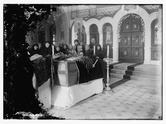 [Funeral ceremony over the remains of Princess Elizabeth, sister of the Czarina & her maid, in the Russian Church of the Magdalene on the Mt. of Olives. Jan. 30th, 1921]