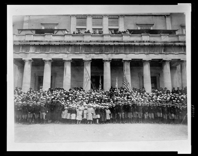 [Group portrait of orphans from orphanages at the Old Palace and Zappeion, Athens, Greece, and their directors]
