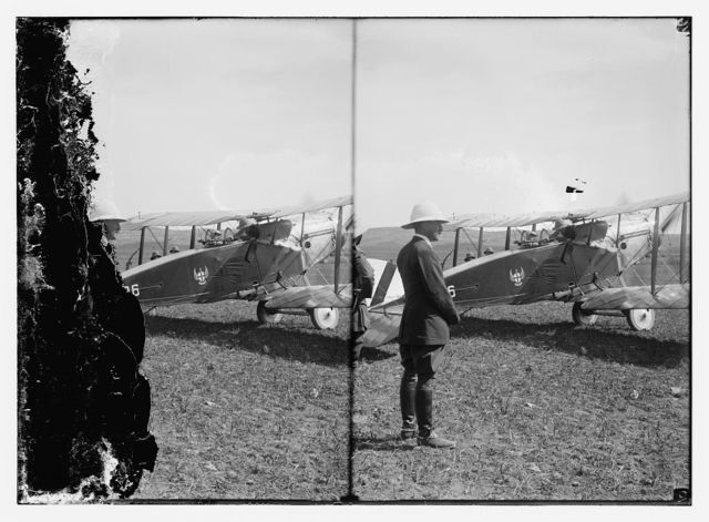 [Herbert Samuel beside Col. Lawrence's airplane before takeoff to el-Azrak]