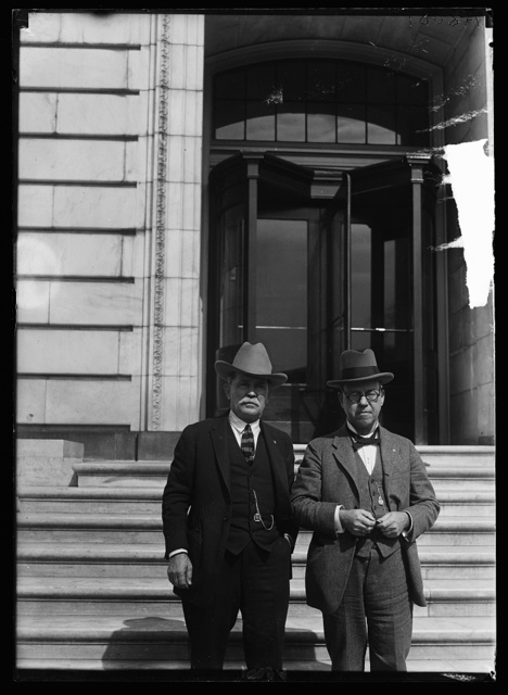 J. Frank Norfleet, Deputy Sheriff, of Hale Center, Texas, left, and W.H. Mercer, Secy. to Senator Mayfield