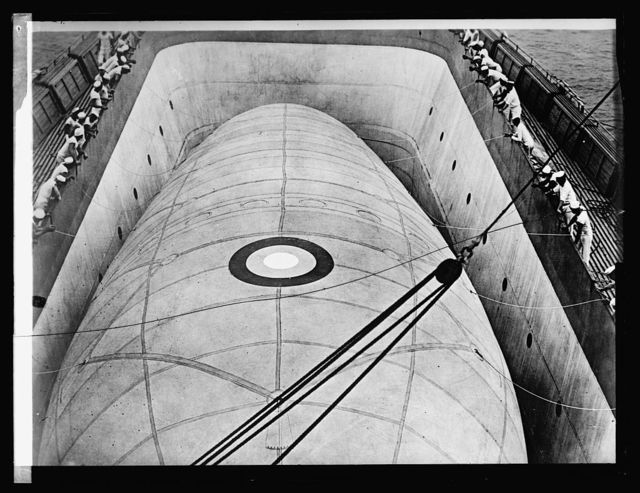Kite balloon in Well of U.S.S. Wright