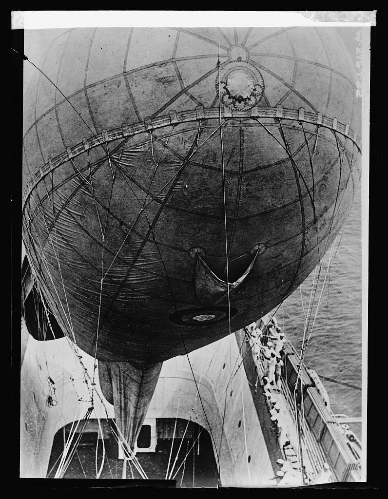 """Kite balloon in """"Well"""" of U.S.S. Wright"""