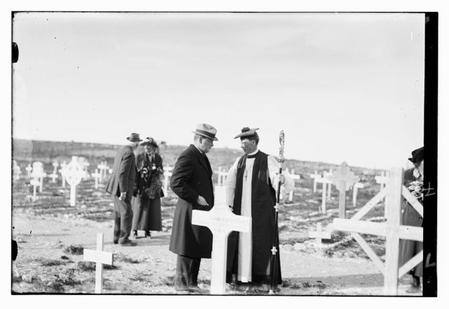 [Mr. Churchill with Bishop MacInnes of Jerusalem, at the memorial service in the Military Cemetery on Mt. Scopus. March 26th, 1921]