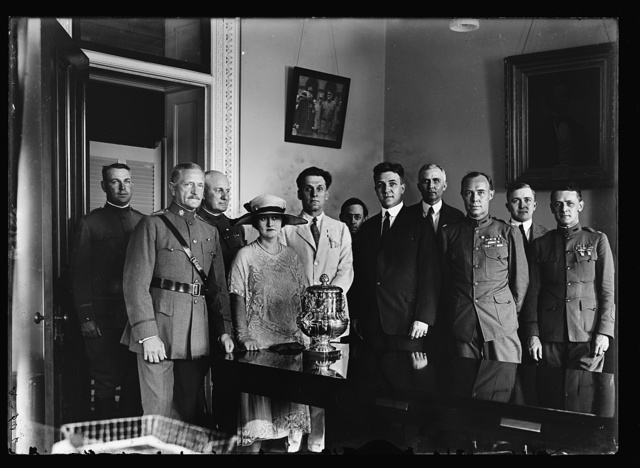 [...]ng Pershing places [...] the custody of the National Rifle Assoc. The Rumanian trophy won by team representing U.S. Army in the winter allied games at Paris in 1919