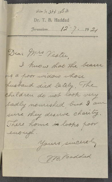 Referral note from Dr. T.B. Haddad to Bertha Spafford Vester, for bearer, a widow needing relief