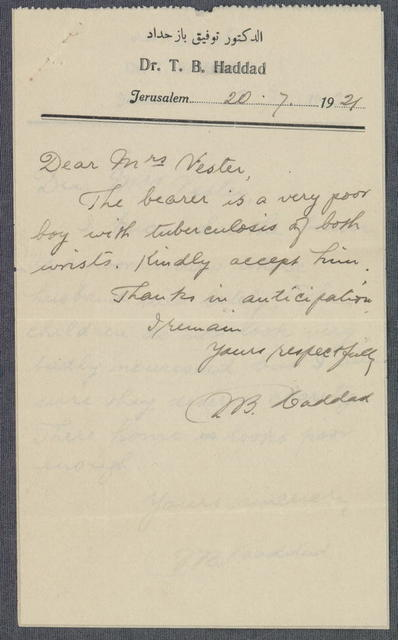 Referral note from Dr. T.B. Haddad to Bertha Vester, for bearer needing care