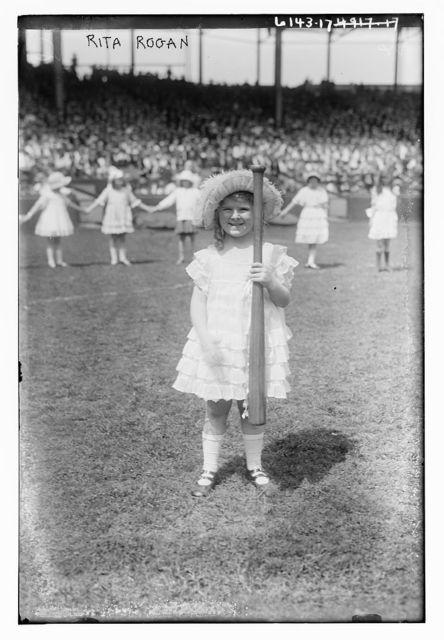 Rita Rogan (holding baseball bat), 1921