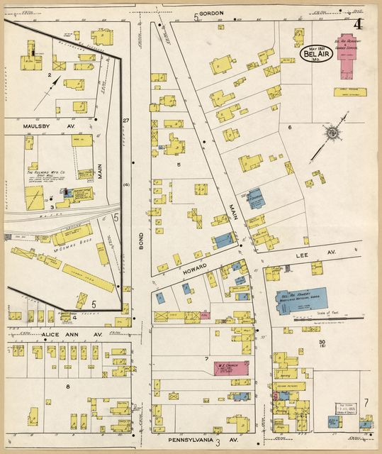 Sanborn Fire Insurance Map from Bel Air, Harford County, Maryland.