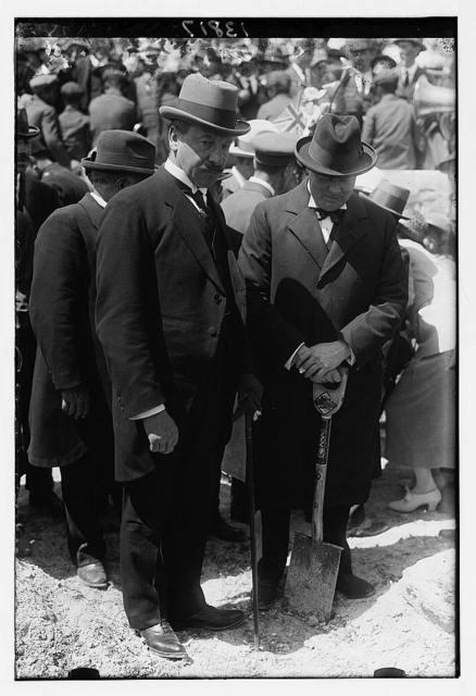 [Sir Herbert Samuel and Winston Churchill at tree planting ceremony, on site of Hebrew University, Mount Scopus, Jerusalem]