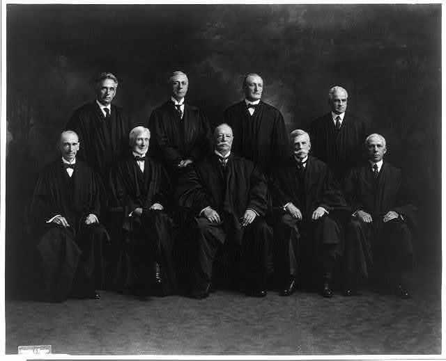 The U.S. Supreme Court in 1921: Day, Brandeis, McKenna, Pitney, Taft, McReynolds, Holmes, Clarke and Van Devanter