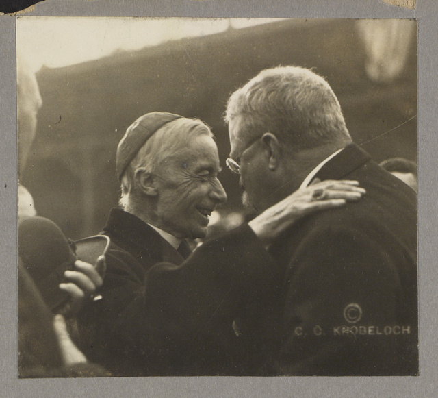 [Theodore Roosevelt and Cardinal James Gibbons in a friendly exchange]