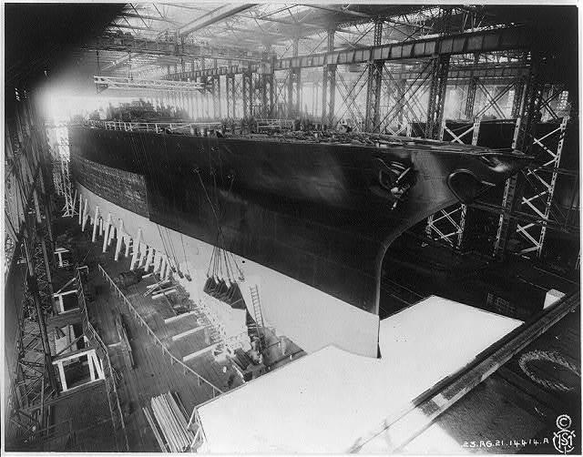 U.S. WASHINGTON [under construction]. Side view of bow