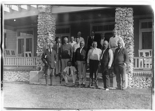 [Warren Harding and group at Cocolobo Cay Club, Adams Key, Florida]
