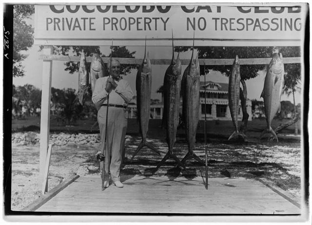 [Warren Harding with fishing rod and fish at Cocolobo Cay Club, Adams Key, Florida]