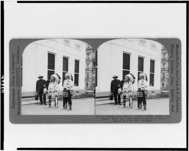 """White Face Bear,"" ""Chief Plenty Coos"" and ""Frost,"" Sioux and Crow chiefs arriving at White House to visit Pres. Harding"
