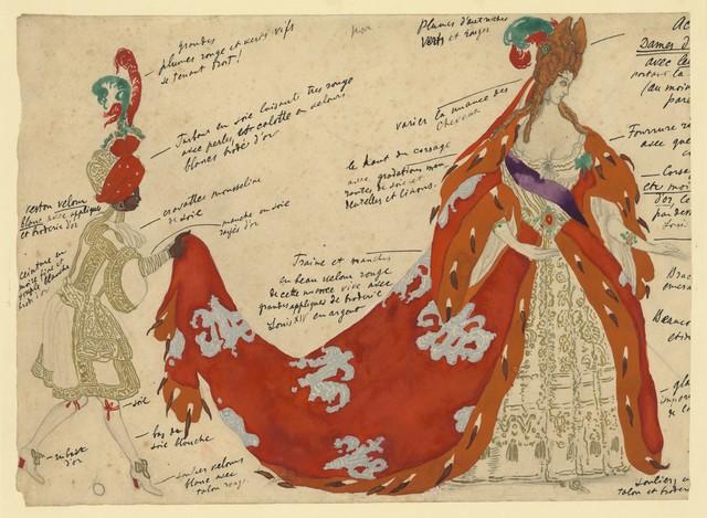 Léon Bakst's color design for a Courtier in The Sleeping Princess, 1921