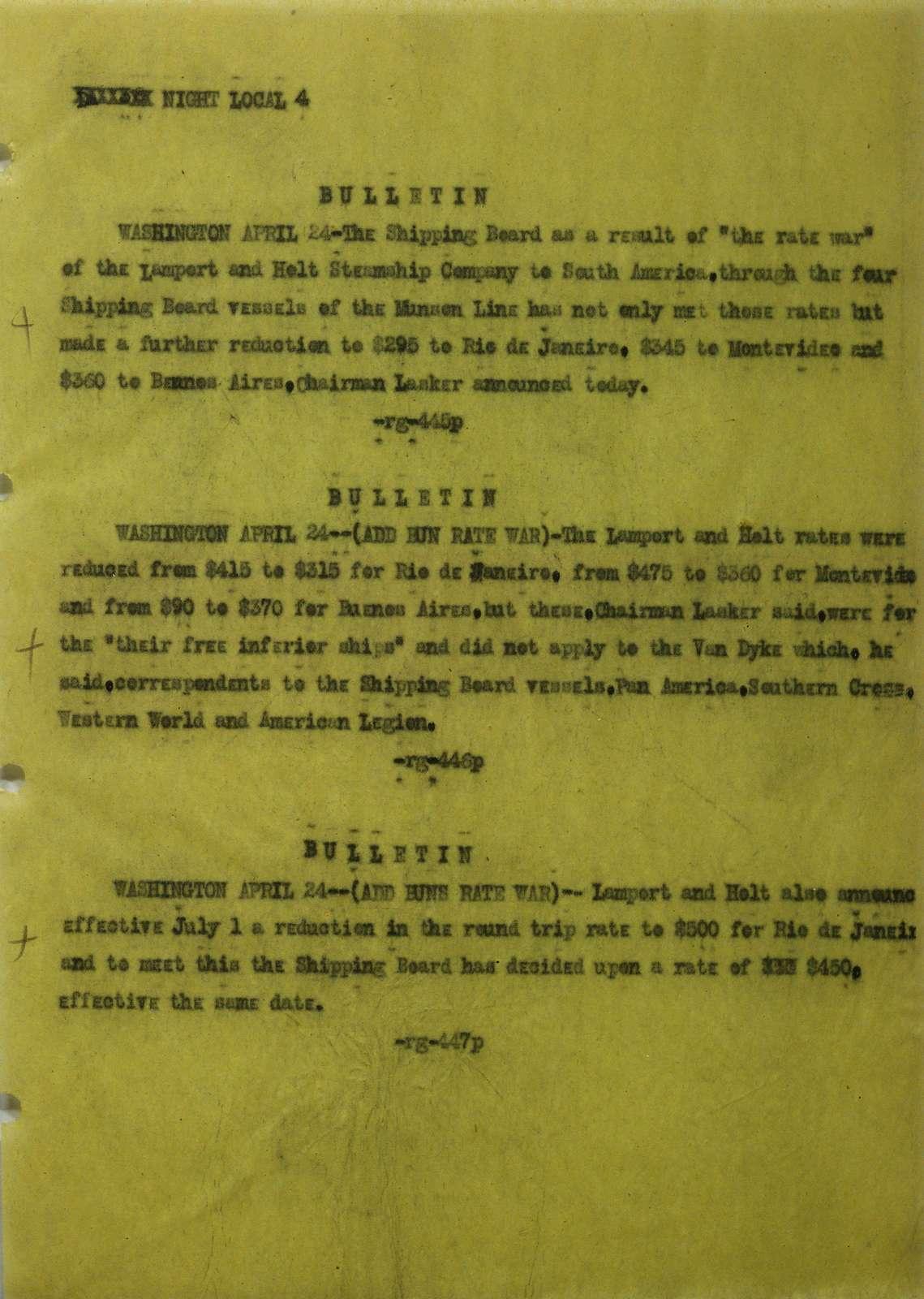 Associated Press, Washington, D.C., Bureau News Dispatches: 1922, Apr. 16-30