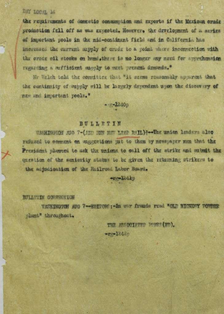 Associated Press, Washington, D.C., Bureau News Dispatches: 1922, Aug. 1-15