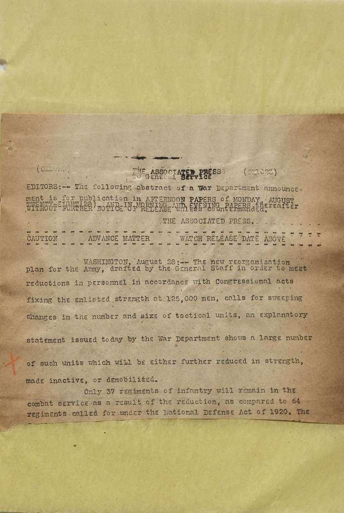 Associated Press, Washington, D.C., Bureau News Dispatches: 1922, Aug. 16-31