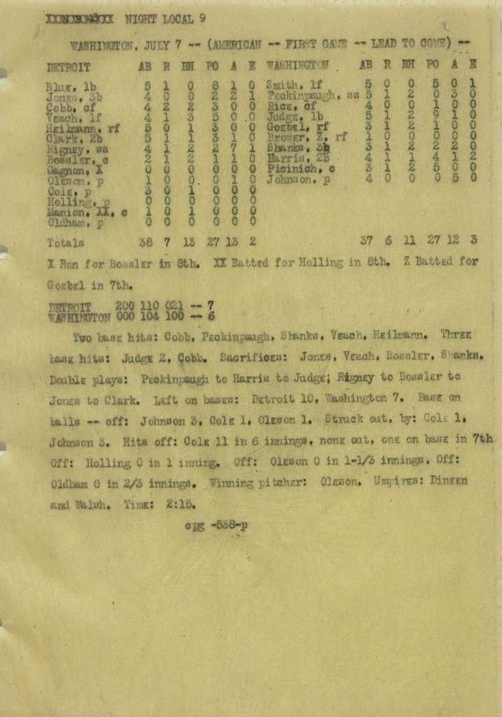 Associated Press, Washington, D.C., Bureau News Dispatches: 1922, July 1-15