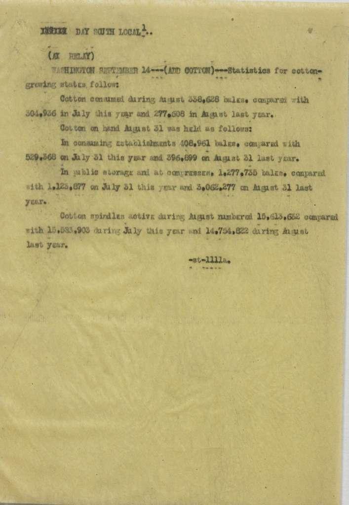 Associated Press, Washington, D.C., Bureau News Dispatches: 1922, Sept. 1-15