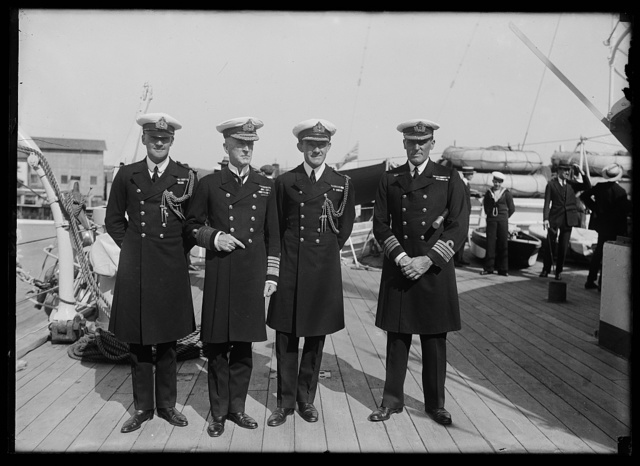British Naval officers in D.C. Left to right: Lt. Curzon Howe, Adm. Sir Wm. C. Palenham, Commander of the Fleet, Capt. S.R. Bailey, Naval Attache of the British Embassy, and Capt. A.R. Bromley, Commander of the Raleigh