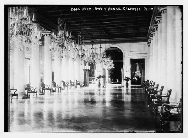 Chandeliered ballroom of government house, Calcutta, India