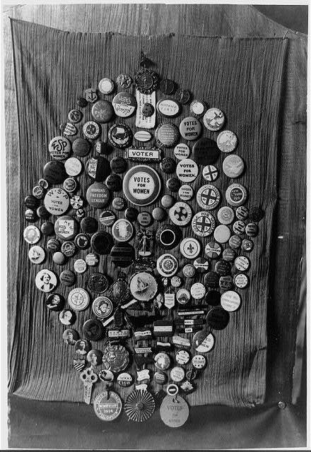 """Collection of """"votes for women"""" buttons made by Mrs. Alice Park of Palo Alto, Calif."""