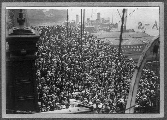 [Crowd at wharf saying goodby to Frank G. Carpenter and his party on start of their trip to Europe]