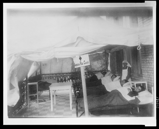 During the spring months, the ARC anticipating the danger of typhus and other contagious diseases, kept prepared several tents for the purpose of isolating any case that might be found This proved to be a wise precaution, and thanks to such effective means as this, all epidemics were successfully kept down on the Isle of Chios. The above picture shows an isolation ward maintained at Chios. The Red Cross had two such wards, supervised by the American Womens Hospitals.
