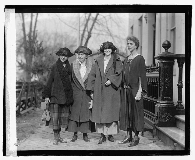 Far Western delegates to Woman's Party conference. L to R: Miss Emma Wold, Portland, Oregon; Mrs. Wm. Kent, San Francisco, Cal.; Mrs Lucille Shields, Amarillo, Tex.; Miss Sybil Moore, Seattle, Wash., [11/11/22]