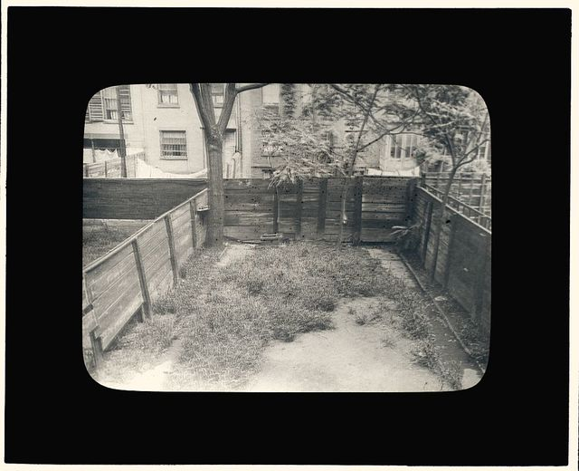 "[""Flagstones,"" Charles Clinton Marshall house, 117 West 55th Street, New York, New York. Backyard before renovation]"