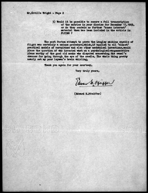 General Correspondence:  Pfeiffer, Edward H., 1922