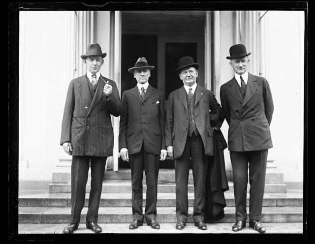 [Group at White House; Charles Dawes, left; Robert P. Lamont, right. Washington, D.C.]