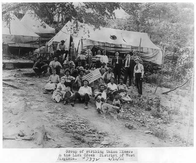 Group of striking Union miners in the Lick Creek district of West Va.