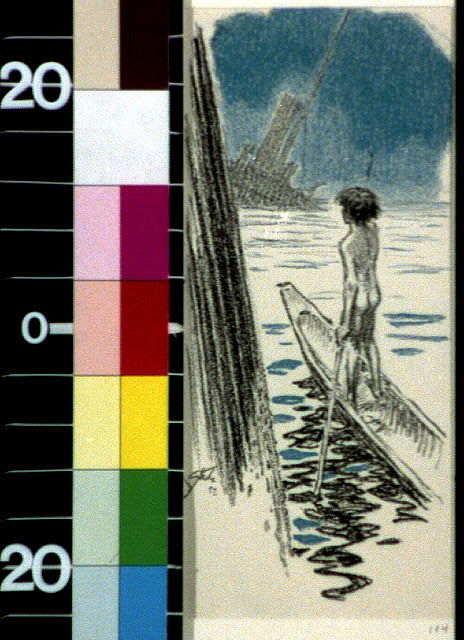 [It wasn't until the dug-out blew in from the sea, and he had learned to navigate it, that the child visited the wreck]