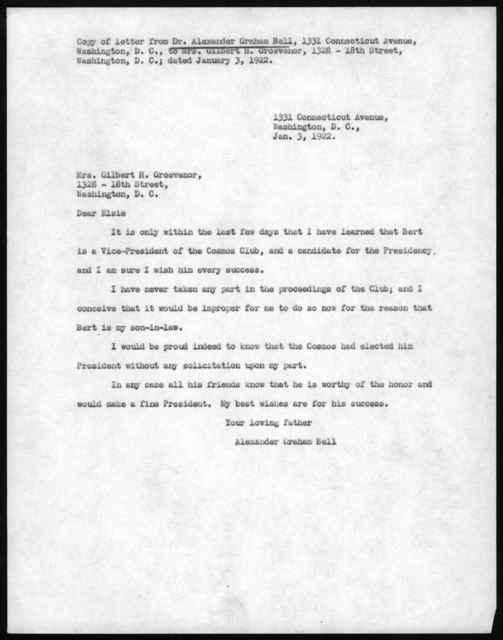 Letter from Alexander Graham Bell to Elsie Bell Grosvenor, January 3, 1922