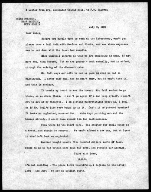 Letter from Mabel Hubbard Bell to Frederick W. Baldwin, July 9, 1922