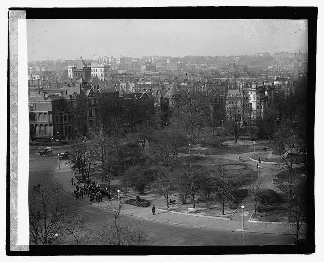 [Logan Circle, Washington, D.C., looking north with tower of John Wesley A.M.E. Zion Church on 14th Street at left]