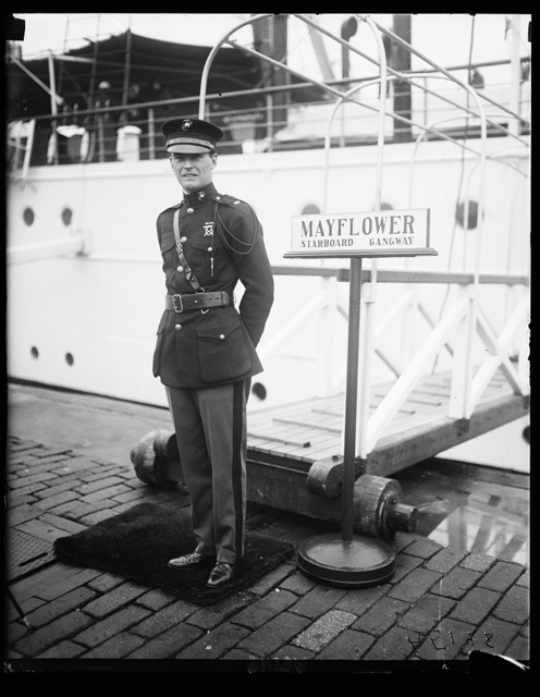 Lt. Edgar Allen Poe, who has the distinguished honor of being the first Marine Corps officer to serve aboard the U.S.S. Mayflower, the presidential yacht. He will take charge of the detachment of Marines which act as honor guard to the President when he is aboard