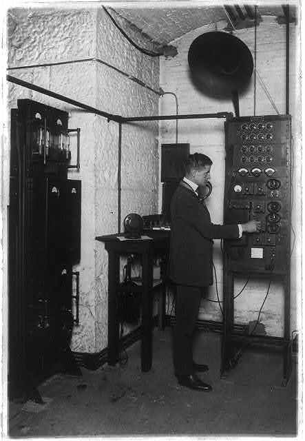 Man in public address amplifier control room in the U.S. Capitol